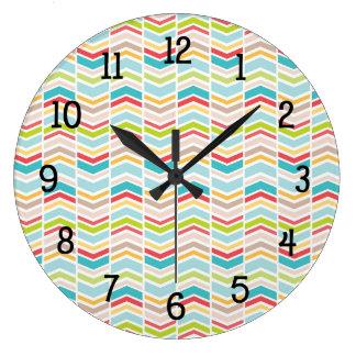 Tribal colorful zig zag chevron decor large clock