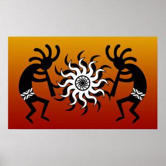 Tribal Desert Sun Southwest Design Kokopelli Poster