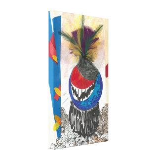 """Tribal Design Blue"" Fine Art Canvas Print"