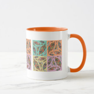Tribal Design Feathers on Four Color Squares Mug