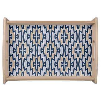 Tribal Diamond Pattern in Navy, Gray and Tan Serving Tray