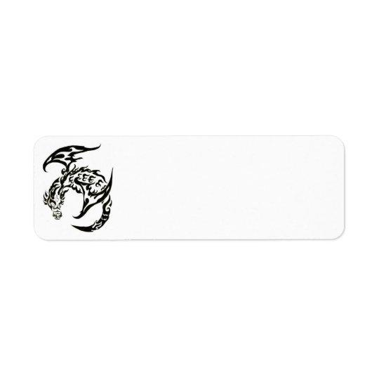 tribal dragon mailing label