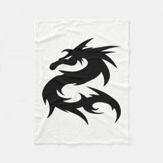 Tribal Dragon Silhouette Fleece Blanket