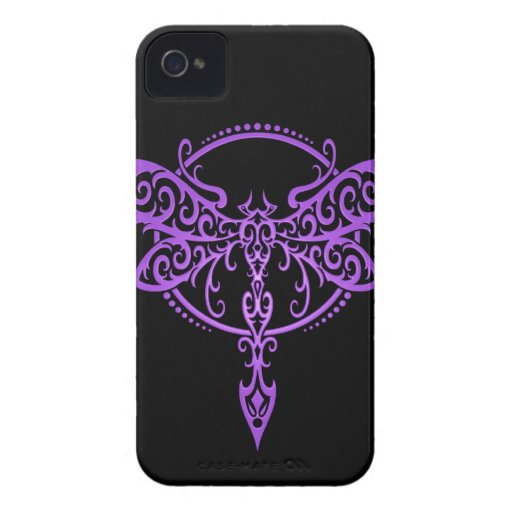 Tribal Dragonfly, Purple and Black Blackberry Bold Cover