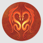 Tribal Dragons, red Round Sticker