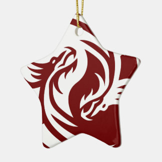 Tribal Dragons Yin Yang (Customizable) Ceramic Ornament