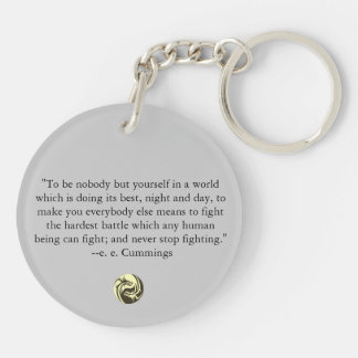 Tribal Dragons Yin Yang - ee Cummings Quote Double-Sided Round Acrylic Keychain