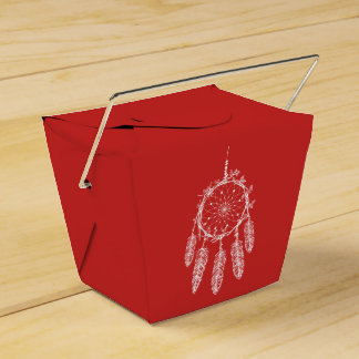 Tribal Dream Catcher Red Native American Wedding Favor Box