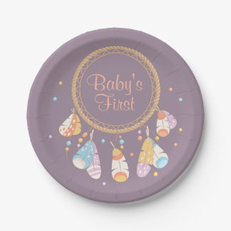 Tribal Dreamcatcher Boho Baby First 1st Birthday Paper Plate