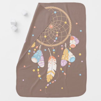 Tribal Dreamcatcher Boho Brown Double-sided Baby Blanket
