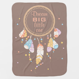 Tribal Dreamcatcher Boho Brown Quote Double-sided Baby Blanket