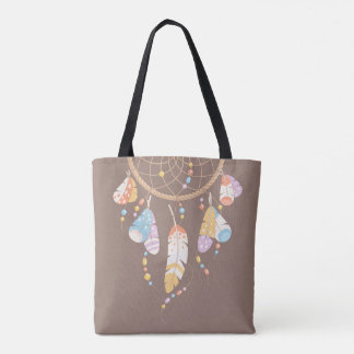 Tribal Dreamcatcher Boho Brown Quote Tote Bag