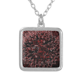 Tribal Effect Red Silver Plated Necklace