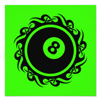 "tribal eightball 5.25"" square invitation card"