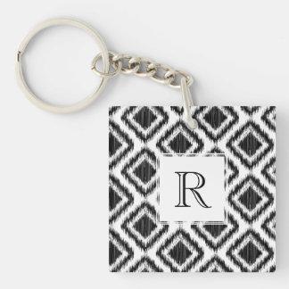 Tribal Elegant Black and White Ikat Pattern Keychain