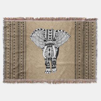 Tribal Elephant Ethnic Pattern Throw Blanket