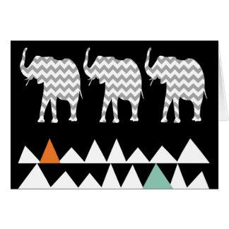 Tribal Elephants Art Aztec Andes Zigzags Chevrons Card