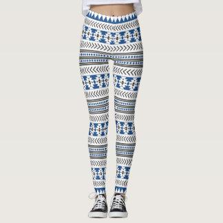 Tribal  Ethnic  Black White Blue Aztec Leggings