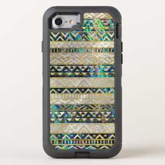 Tribal Ethnic  Pattern Gold on Abalone Shell Pearl OtterBox Defender iPhone 8/7 Case