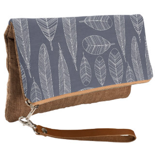 Tribal Feather Pattern Boho Clutch