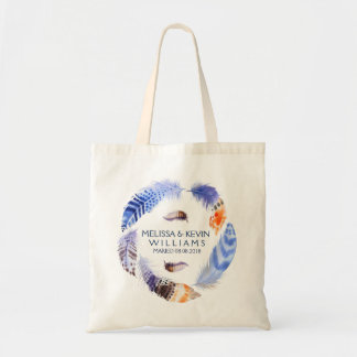 Tribal Feather Wedding Wreath Watercolors Tote Bag