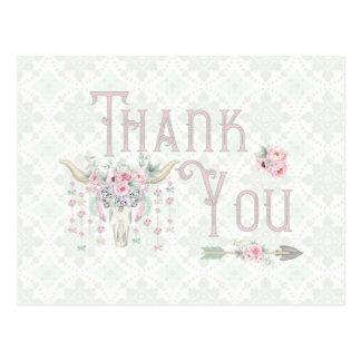 Tribal Floral Bull Horn Arrows Pink Mint Thank You Postcard
