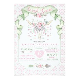 Tribal Floral Bull Horns Arrows Pink Mint Feminine Card