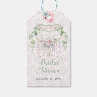Tribal Floral Bull Horns Arrows Pink Mint Feminine Gift Tags