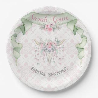 Tribal Floral Bull Horns Arrows Pink Mint Feminine Paper Plate