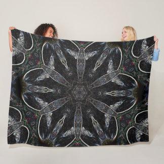 Tribal Fox Spirit Mandala Shaman Quilt Fleece Blanket