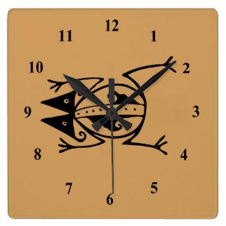 Tribal Frog Square Wall Clock