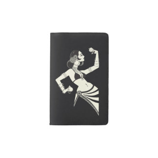 tribal fusion belly dancer with cymbals pocket moleskine notebook