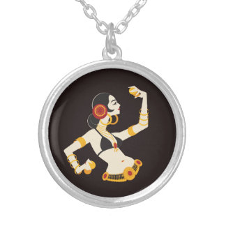 tribal fusion belly dancer with cymbals silver plated necklace