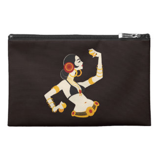 tribal fusion belly dancer with cymbals travel accessory bag