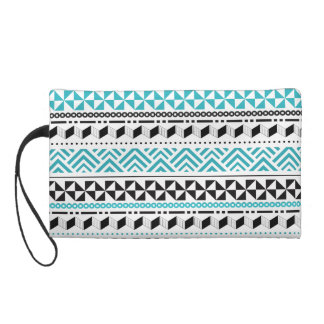 Tribal Geometric Black and Aqua Modern Aztec Wristlet