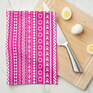 Tribal Geometric in Girly Hot Pink Kitchen Towel
