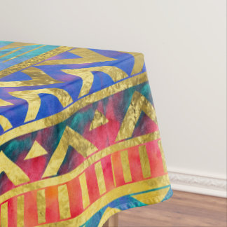 Tribal Geometric Watercolor and Gold Pattern Tablecloth