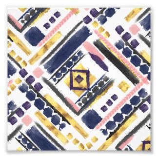 Tribal gold paint geometric brush strokes photo print