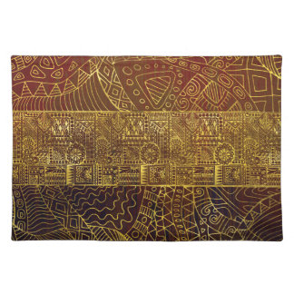 Tribal  Gold Pattern on Brown Paint Placemat