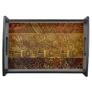Tribal  Gold Pattern on Brown Paint Serving Tray