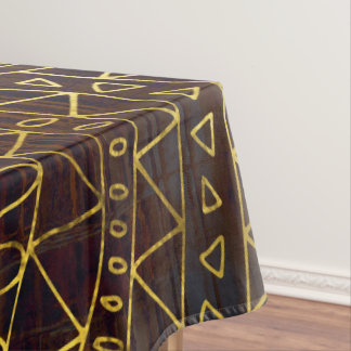 Tribal  Gold Pattern on Brown Paint Tablecloth