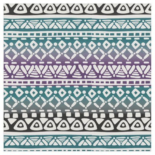 Tribal Gradient Print Fabric Teal Violet