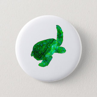 Tribal Green Sea Turtle 2 Inch Round Button