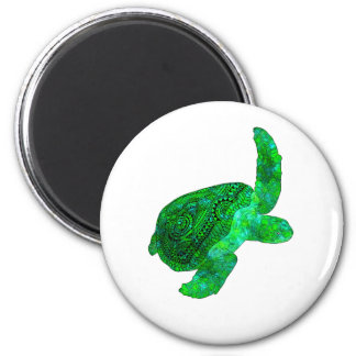 Tribal Green Sea Turtle 2 Inch Round Magnet