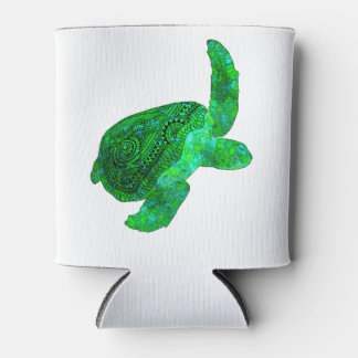 Tribal Green Sea Turtle Can Cooler