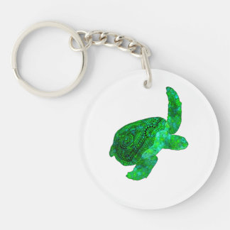 Tribal Green Sea Turtle Double-Sided Round Acrylic Keychain
