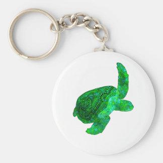Tribal Green Sea Turtle Keychain