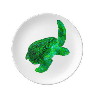 Tribal Green Sea Turtle Porcelain Plates