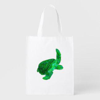 Tribal Green Sea Turtle Reusable Grocery Bag