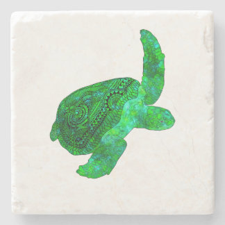Tribal Green Sea Turtle Stone Coaster